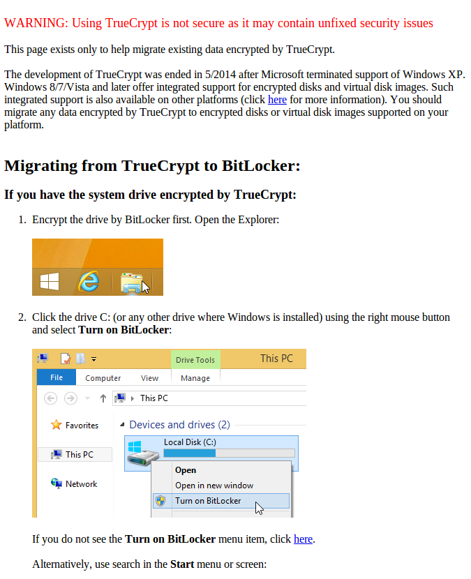 Screenshot TrueCrypt Warnning