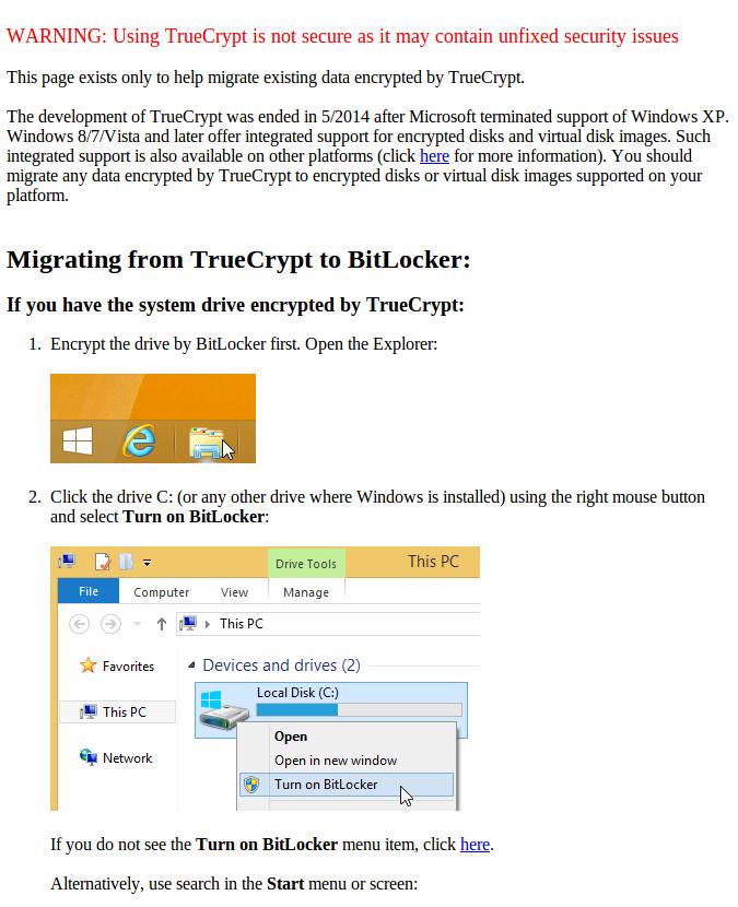 Screenshot TrueCrypt Warnning